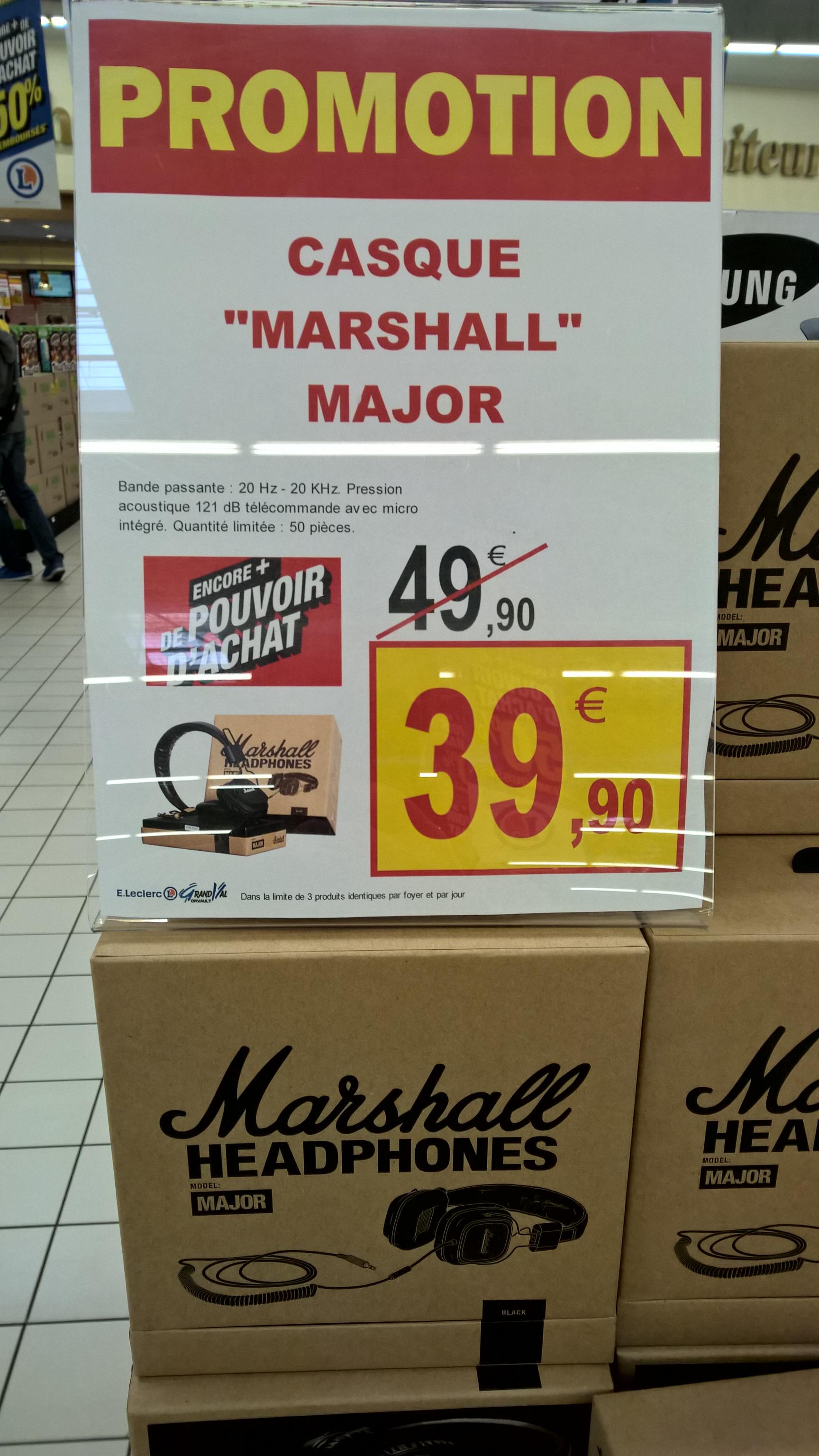 Casque Marshall Major - Noir