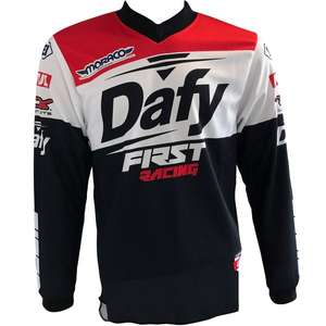 maillot d 39 enduro dafy moto first racing 18 blanc noir rouge du s au xxxl. Black Bedroom Furniture Sets. Home Design Ideas
