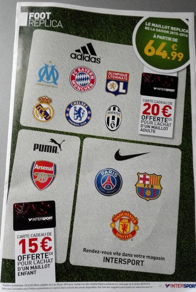 Carte cadeau de 20€ offerte pour l'achat d'un maillot de football saison 2015/2016