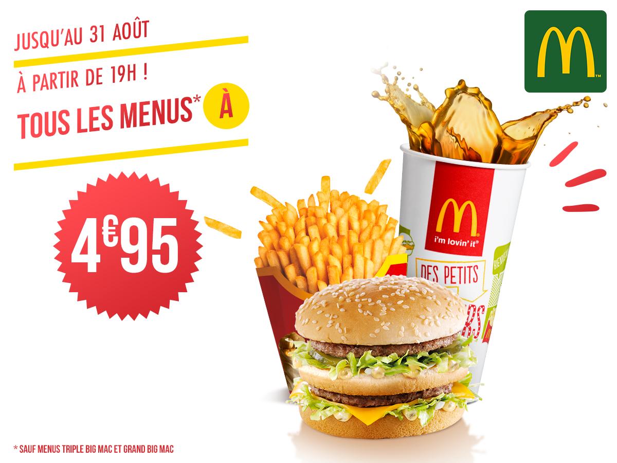 Tous les menus best-of à 4€95 (Sauf menus Triple Big Mac et Grand Big Mac) - Beauvais (60)