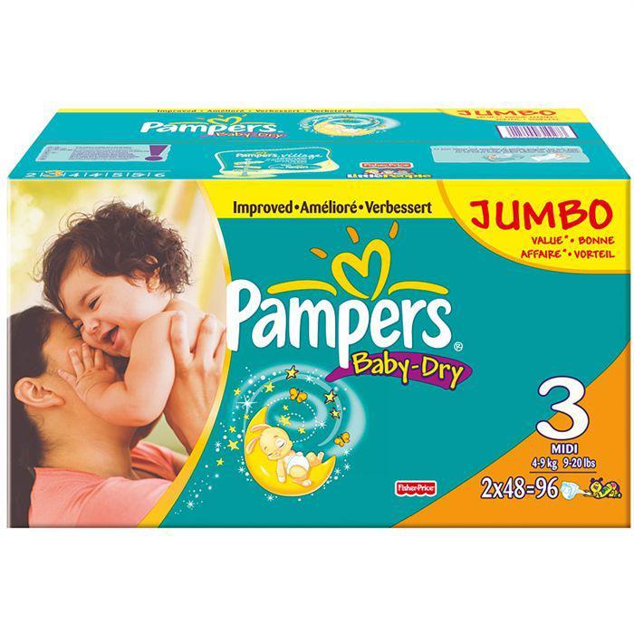 96 Couches Pampers Mega + baby-dry (Taille 3 à 5) (50% en avantage carte)