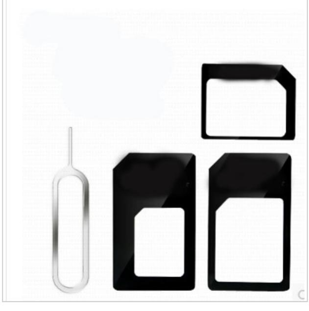 Adaptateur carte sim/micro/nano avec tige d'éjection