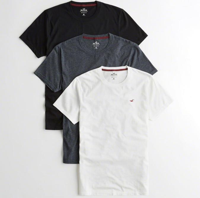 Lot de 3 T-shirts col ras du cou avec ourlet arrondi (S à XL)