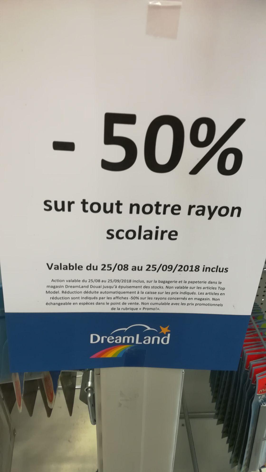 -50% sur toutes les fournitures scolaires - Dreamland Dechy (59)