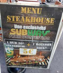 Menu Steakhouse (SUB30 + Boisson) - Subway Paris Convention (75)