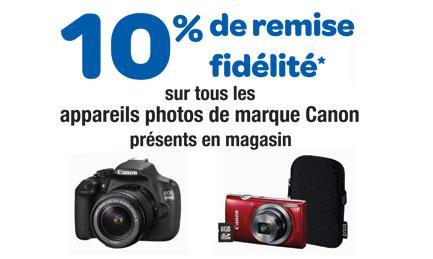 10% de remise fidélité sur tous les appareils photos de marque Canon présent