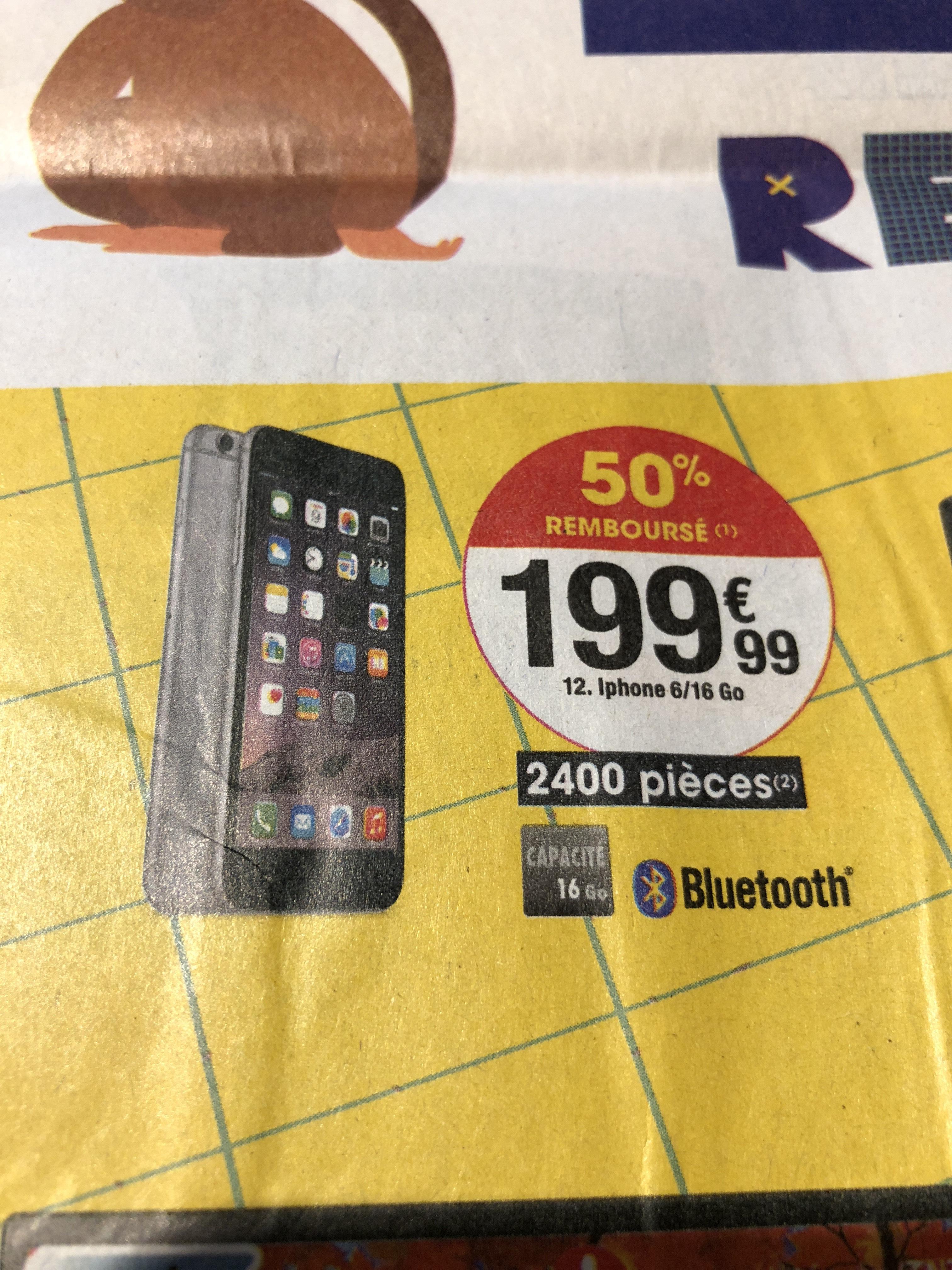 """Smartphone 4.7"""" Apple iPhone 6 - 16Go, Reconditionné (+ 100€ remboursé en bons d'achat)"""
