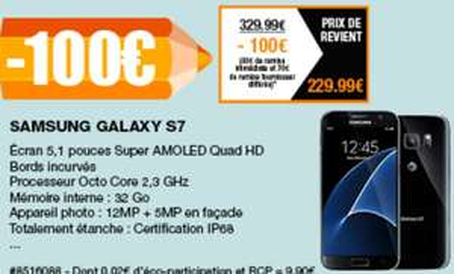 """[Carte Costco] Smartphone 5.2"""" Samsung Galaxy S7 (via ODR 70€) - Villebon Sur Yvette (91)"""