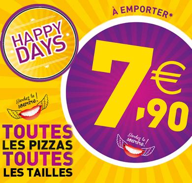 [Les samedis uniquement] Toutes les pizzas à emporter au prix unique de