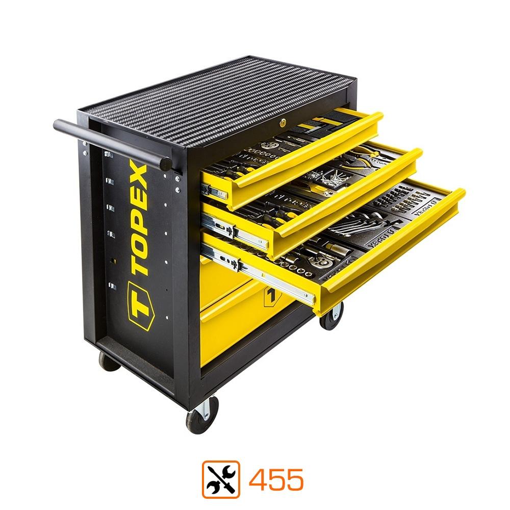 Servante d'atelier complète Topex - 455 outils