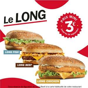 Hamburger Le Long à 3€ (Fish, Beef ou Chicken)