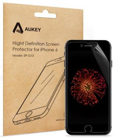 [Panier plus] Pack de 5 films protecteur d'écran 4H Aukey pour Iphone 6 et 6 Plus