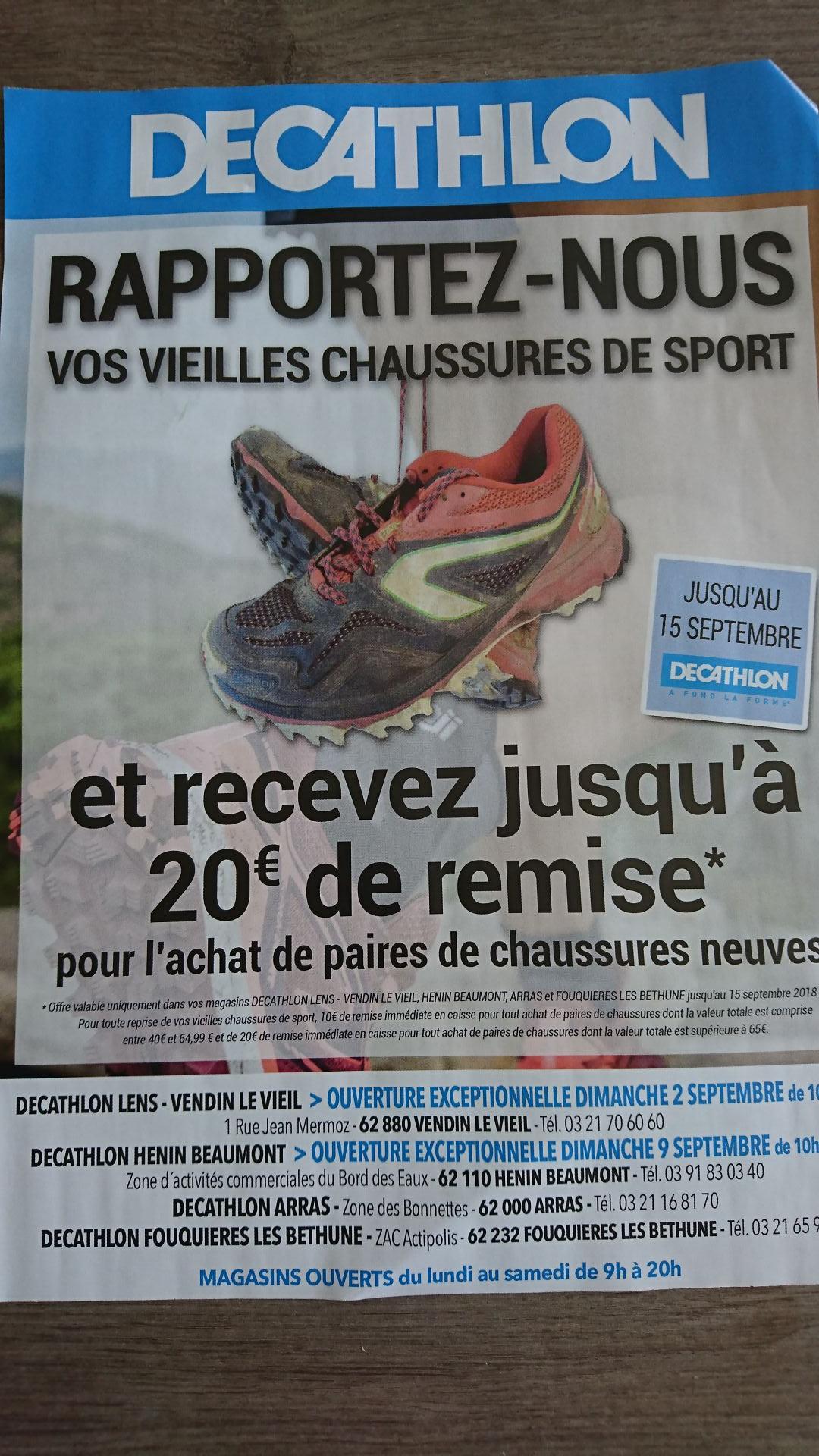 Un bon d'achat offert pour la reprise de vos vieilles chaussures a Decathlon - Région Pas de Calais (62)