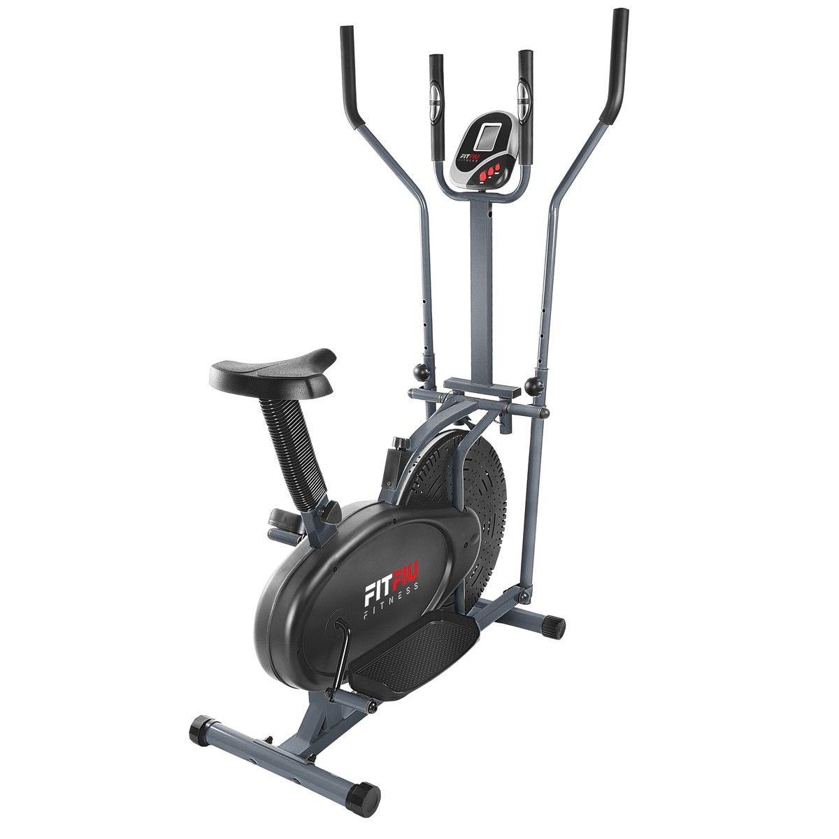 Vélo elliptique d'appartement Fitfiu BELI-120 avec Ecran LCD et Fréquence cardiaque (Inertie 5 kg)