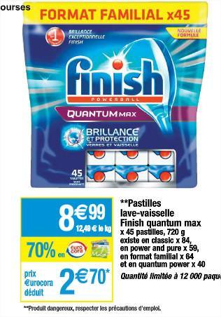 Jusqu'à 70% en €urocora sur une sélection de produit - Ex: Pastille lave-vaisselle Finish Format familial (avec 70% en €urocora)