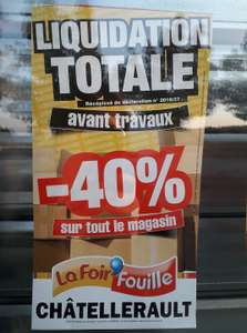 Liquidation totale: 40% de réduction sur tout le magasin - Chatellerault (86)