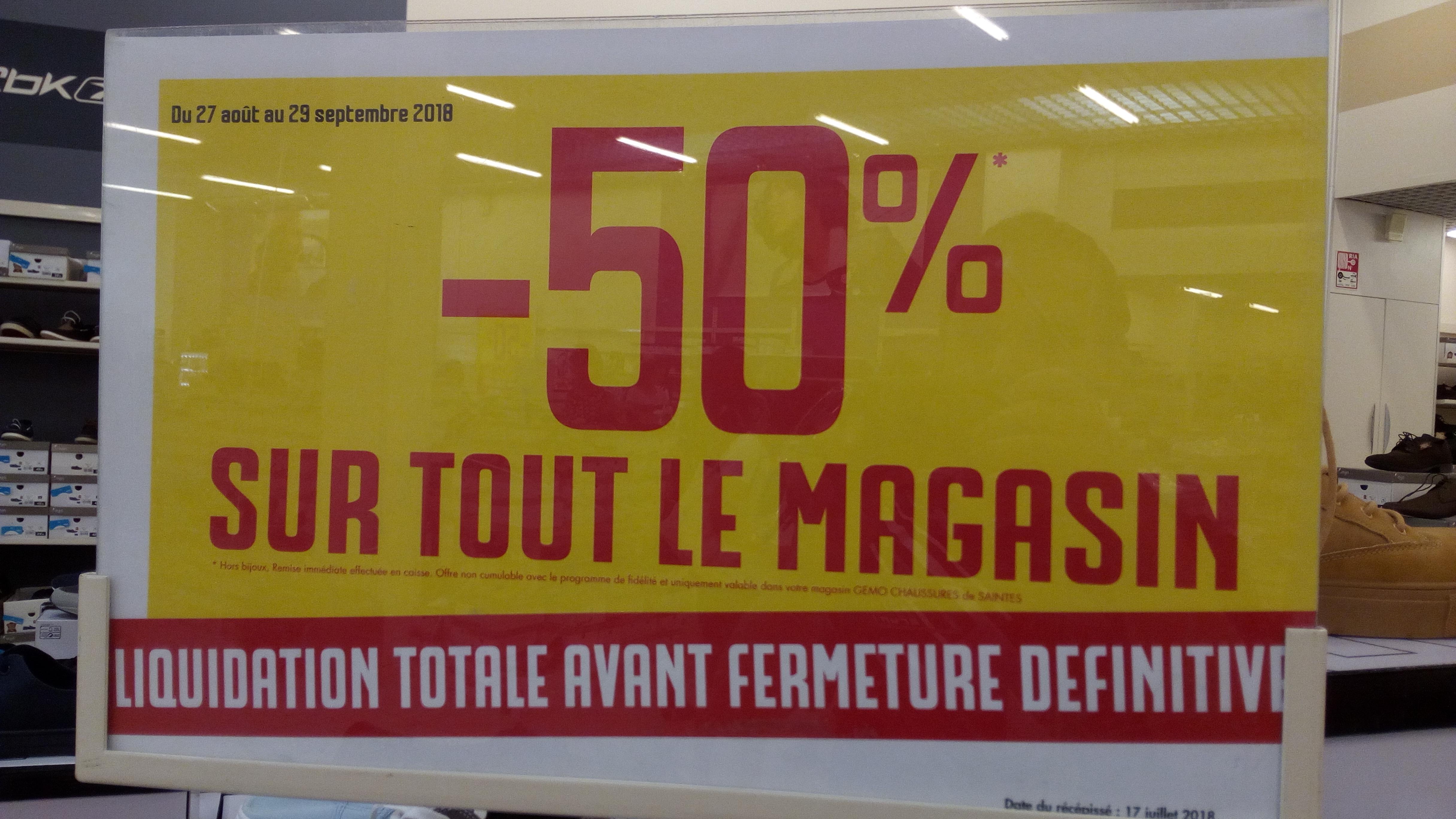 Liquidation totale: 50% de réduction sur tout le magasin - Gémo Chaussures Saintes (17)