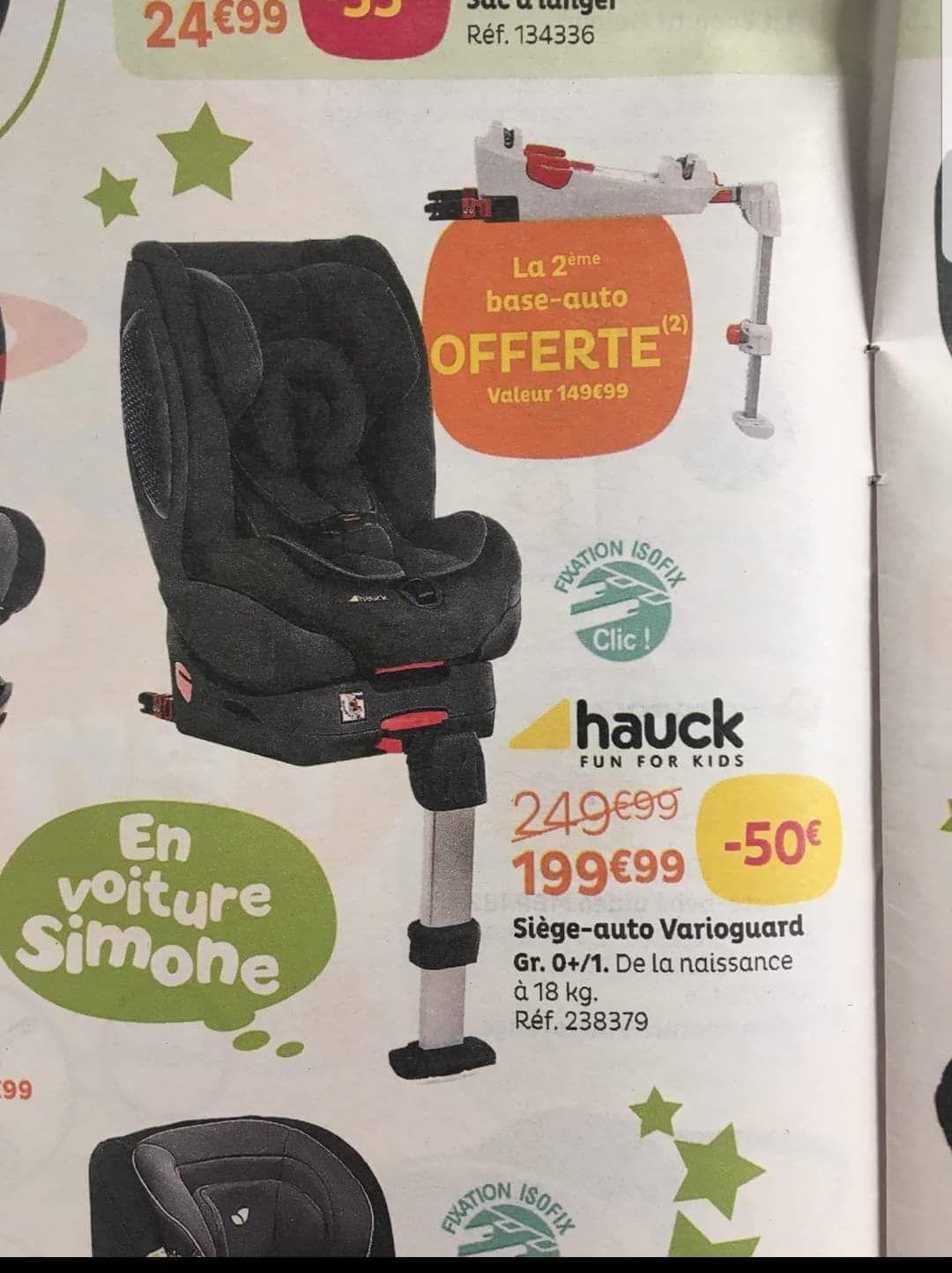 Siège auto Hauck Varioguard Plus 0+/1 et 2ème base isofix  (+15€ en bon d'achat)