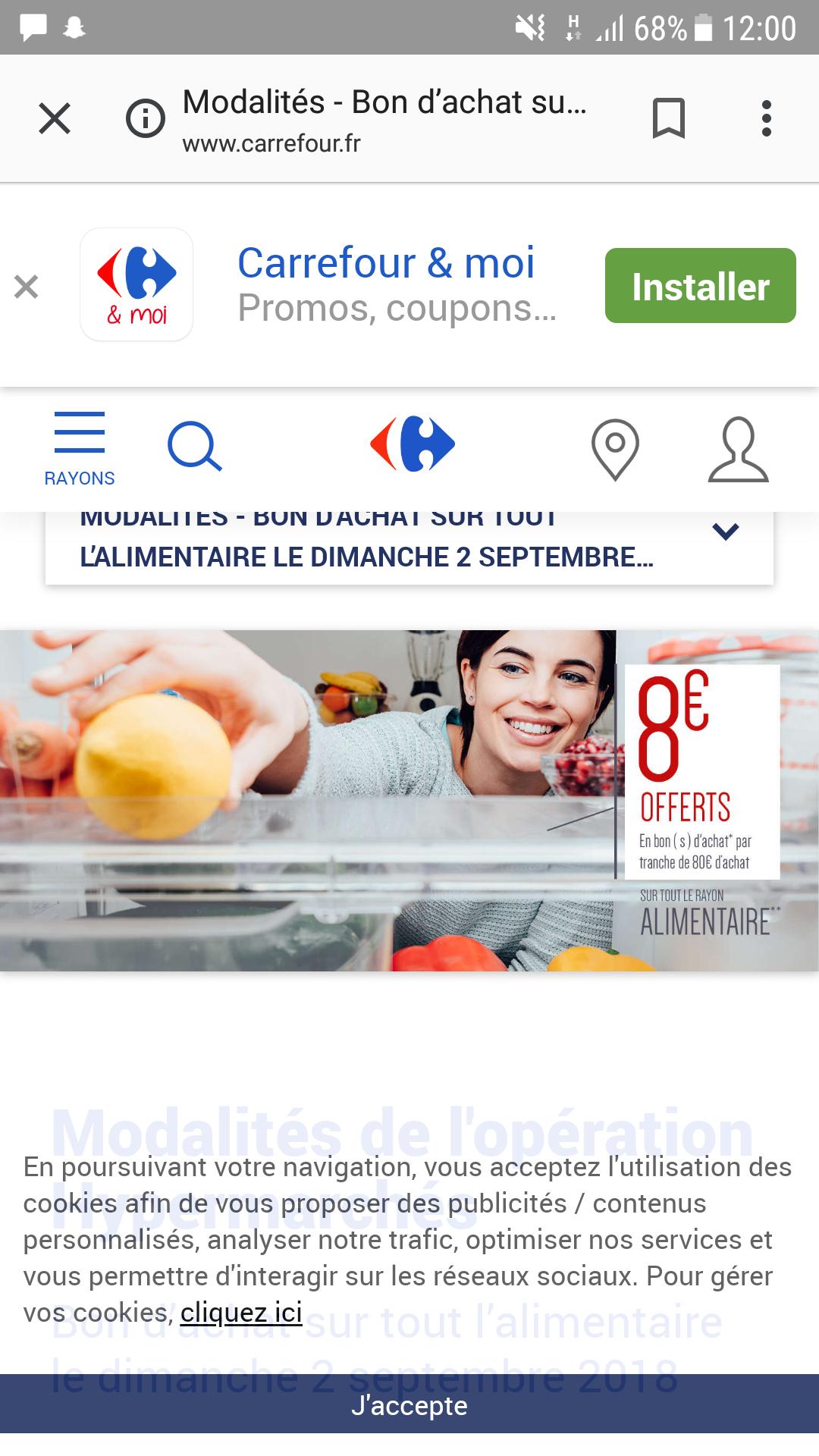 8€ offert dès 80€ d'achat chez carrefour et sur le drive (sous conditions)