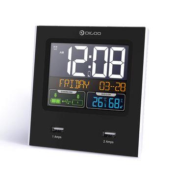 Station multifonction Digoo DG-C3X avec 2 ports USB - Ecran couleur, Thermomètre, Hygromètre, Horloge, Double Alarme, Calendrier