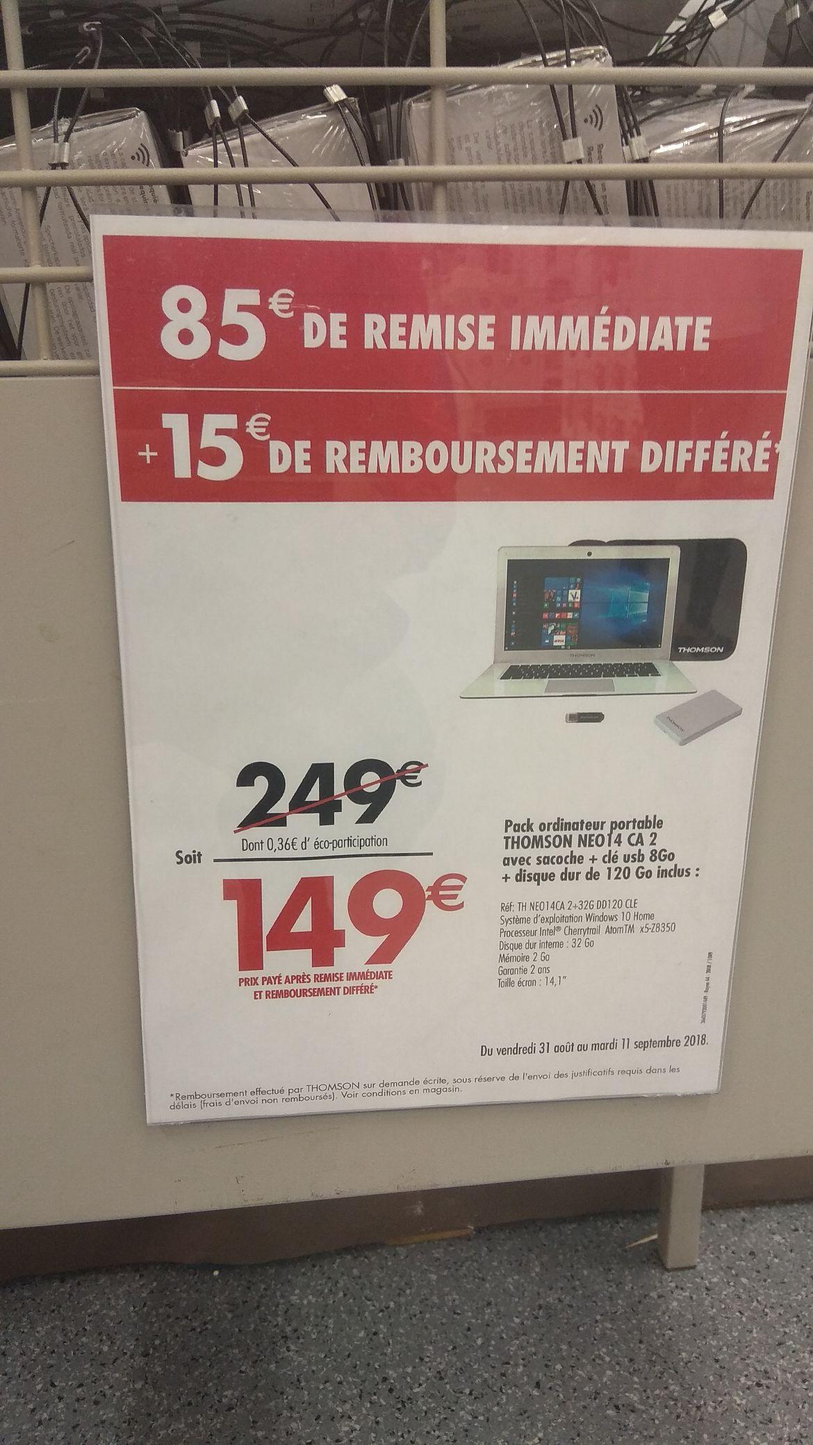 "PC Portable 14"" Thomson - Intel BayTrail Z3735F, RAM de 2Go, Stockage de 32Go + Disque Dur externe 120Go + Clé USB 8 Go + Saccoche (via ODR 15€)"