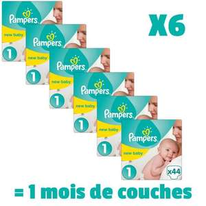Lot de 6 Paquets de couches Pampers New Baby (Taille 1) - 44x6 couches