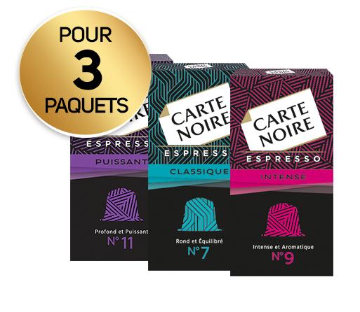 Lot de 3 Boîtes de Capsules Nespresso Carte Noire (Variétés au choix) - 3 x 10 (Via 6.21€ sur la Carte de Fidélité + BDR)