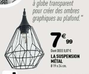 Suspension graphique en métal - Ø19x24cm