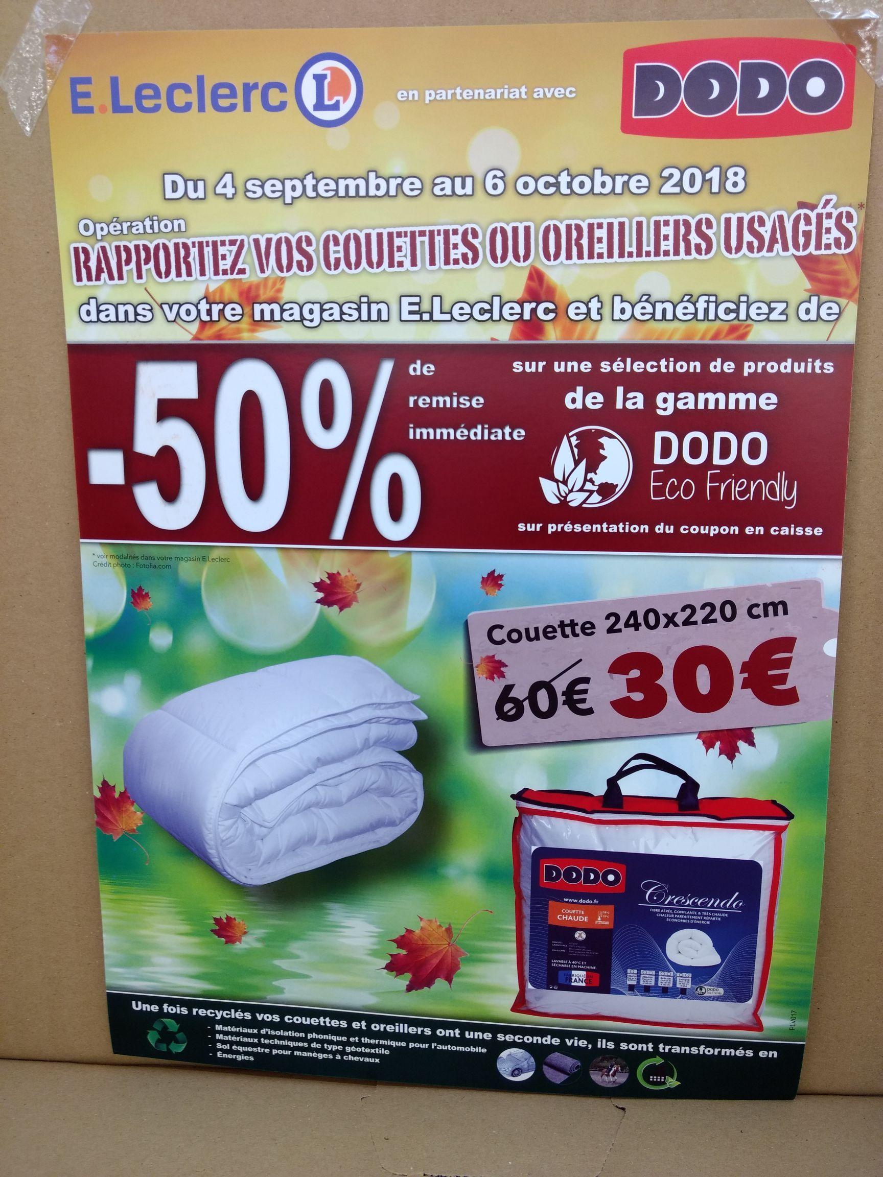 50% de réduction sur la gamme de Couettes et oreillers Dodo Eco Friendly (Sous condition) - Le Mans (72)