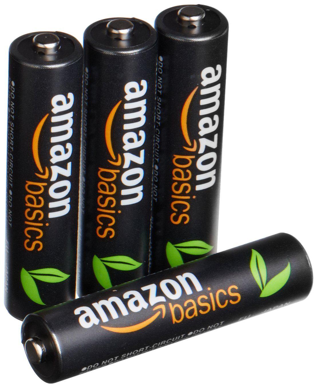 Lot de 4 piles (AAA) rechargeables AmazonBasics 850 mAh/800 mAh min