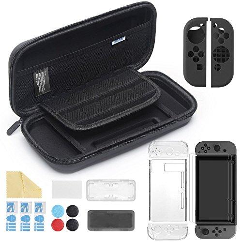 Kit d'accessoire iAmer pour Nintendo Switch : Housse de protection + protection transparente + 3 protections écran + 2 protections joy-con en sillicone + 4 thumb-grip + 2 boîtiers carte de jeux