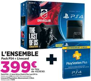 Console Sony PS4 + Drive Club + The Last Of Us + Abonnement 3 mois PSN+
