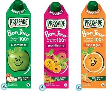 Jus de fruit Pressade Bonjour - 1L (Variétés au choix)