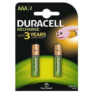 2 Piles Rechargeables Duracell Recharge AAA 750 Mah