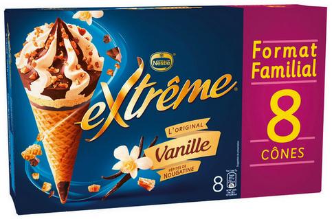 Boîte de 8 cônes glacés Nestlé extrême 568g (via 2.37€ sur carte de fidélité)