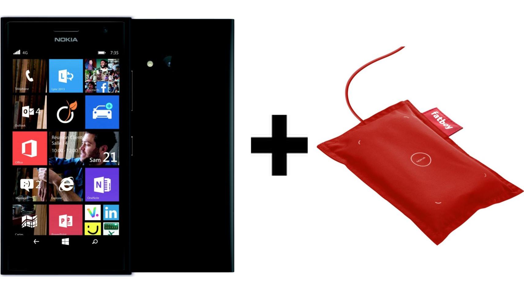 """Smartphone 4,7"""" Nokia Lumia 735 Noir + Chargeur sans fil Nokia Fatboy Rouge + 25€ d'applications offertes"""
