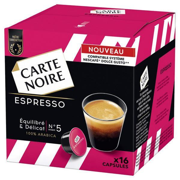 """Boîte de 16 capsules de Café """"Carte noire"""" pour Dolce Gusto (via remise + BDR)"""