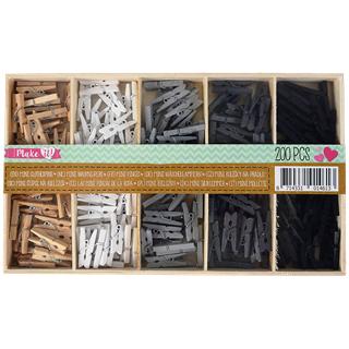 Lot de 200 mini pinces à linges - 5 coloris