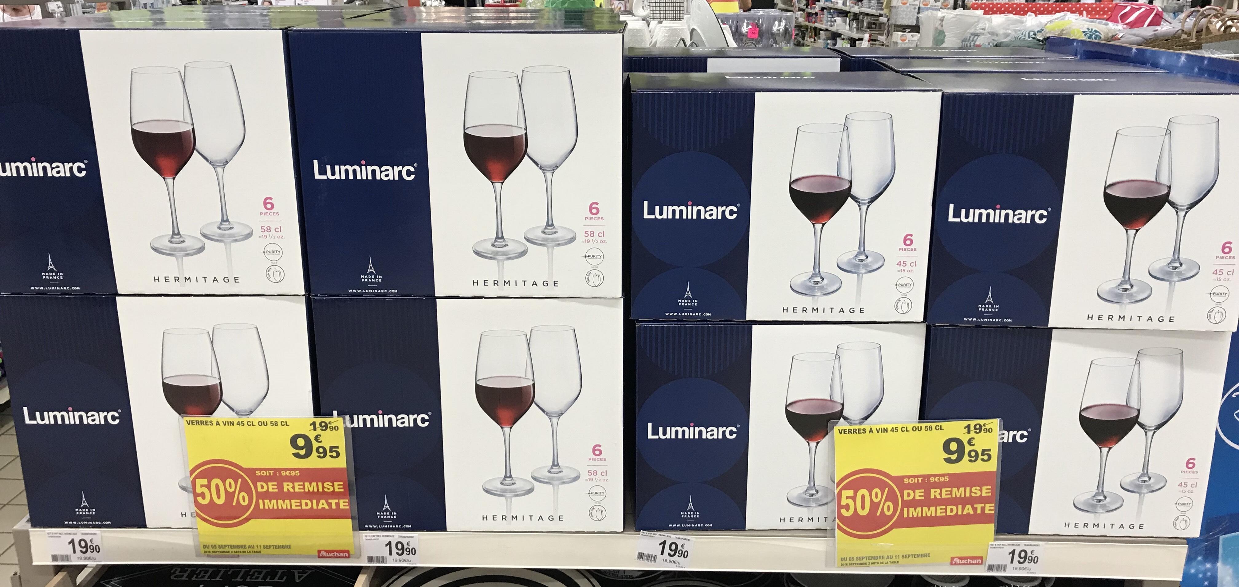 Lot de 6 verres Luminarc (45 ou 58 cl) - Béziers (34)