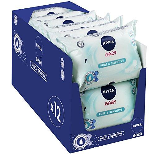 Lot de 12 paquets de 63 lingettes Nivea Baby Pure & Sensitive