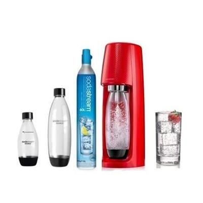 Pack machine à gazéifier l'eau SodaStream Spirit (rouge) + 1 recharge de gaz CO2 + lot de 3 bouteilles en plastique Fuse