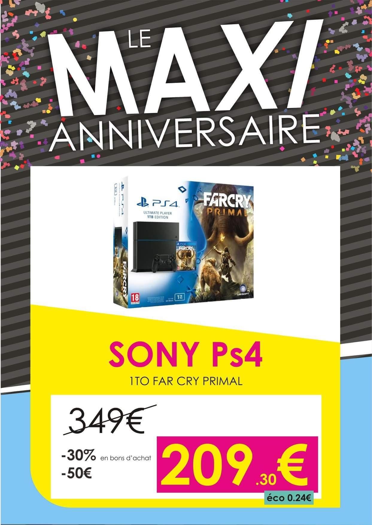 Pack console Sony PS4 Fat (1 To) + Far Cry Primal (via 89.7€ en bon d'achat) - La Montagne (44)