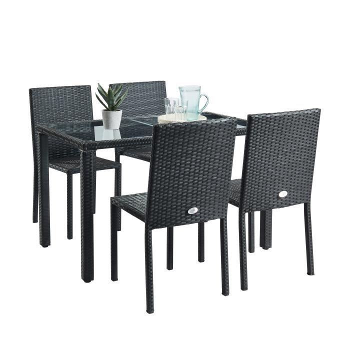 Ensemble jardin : Table en verre et 4 chaises en résine tressée Beau Rivage