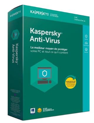 Licence Kaspersky Antivirus 2018 pour 1 Poste avec Mise à jour vers l'édition 2019 - 3 Ans (Dématérialisée - minutesoft.com)