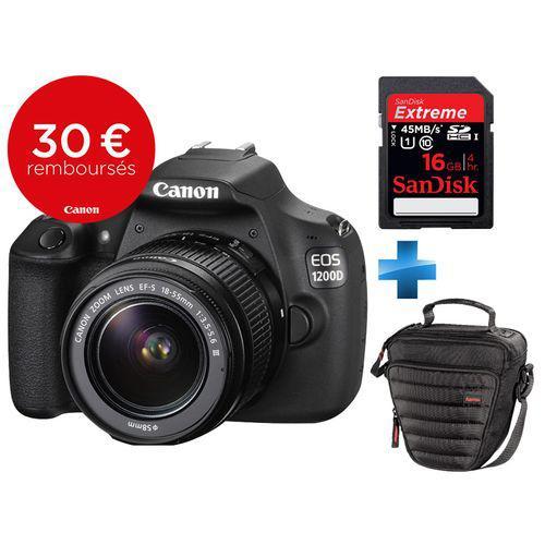 Appareil photo Reflex Canon EOS 1200D + Objectif 18-55mm + carte SD 16Go + Sacoche (via ODR 30€)