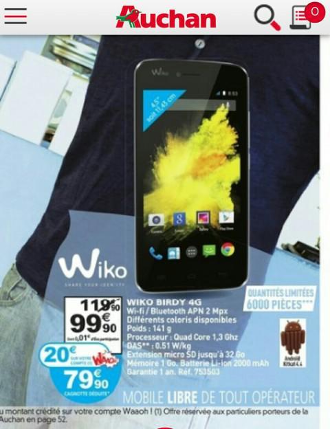 """Smartphone 4.5"""" Wiko Birdy 4G (avec 20€ sur la carte fidélité)"""