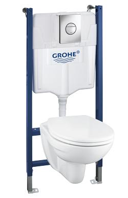Pack WC suspendu Grohe Solido Bau Sail (WC + cuvette + plaque de commande inox)