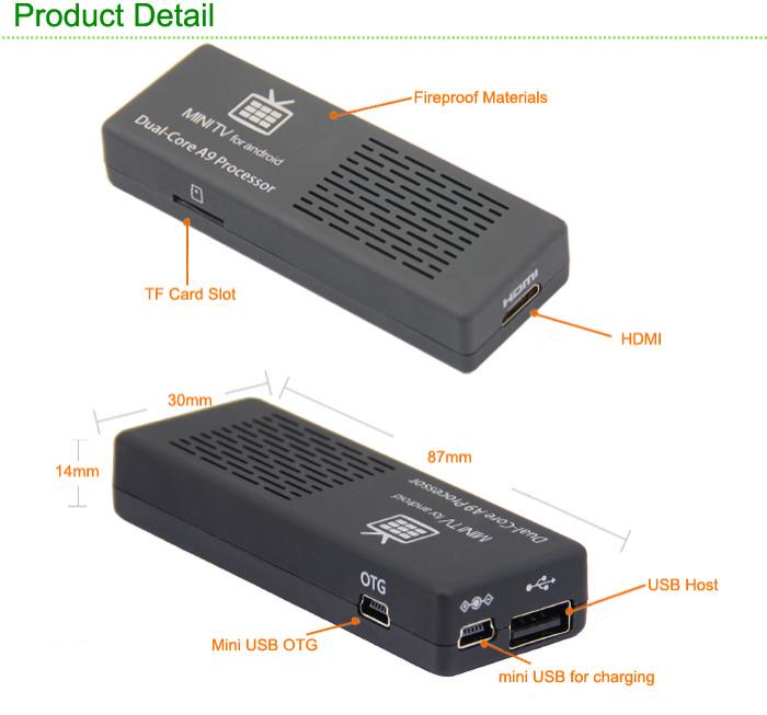 Dongle Mini Smart TV Box MK808 - Android 4.1, Wi-Fi, HDMI, USB, 8 Go, ROM A9 Dual Core 1.6Ghz