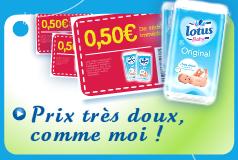 -0,30 € sur l'achat d'un paquet Lotus Baby Flex, -0,50€ sur l'achat de Lotus Baby Original