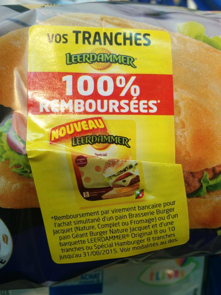 Leerdammer 8-10 tranches 100% remboursé pour l'achat simultané d'un pain Brasserie Burger Jacquet